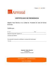 Certificado de Residencia El Arrozal.doc