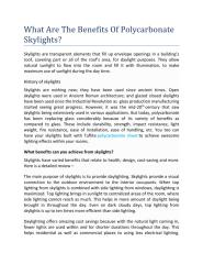 What Are The Benefits Of Polycarbonate Skylights - Tuflite.pdf