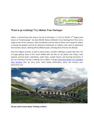Want to go trekking- Try Sikkim Tour Packages.pdf